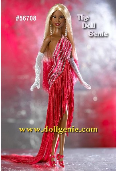 Third in the Diva Collection, this delightful African American Red Hot Diva wears a fabulous red dress with a diagonal glitter stripe and a fringe train. She has long blond hair, length white gloves with glitter, silvery dangling earrings, and red high heel shoes. For the crowning touch, Barbie dolls beautiful long blond hair is brushed with red tips.