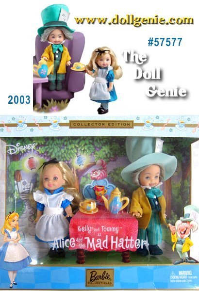 Kelly and Tommy dolls salute Disneys wonderful animated movie, Alice in Wonderland, dressed as Alice and the Mad Hatter. Kelly doll wears a darling dress with apron, stockings, shoes, and hair ribbon. Tommy doll wears a charming jacket, vest, pants, bow tie, socks, hat AND shoes. Includes teapot, and teacup.