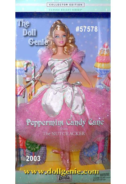 Seventh in the Classic Ballet Series, Peppermint Candy Cane Barbie doll is a beautiful ballerina inspired by the peppermint candy cane in the beloved ballet, The Nutcracker. She wears a shimmering confection of taffeta and tulle. Her-toe positions.