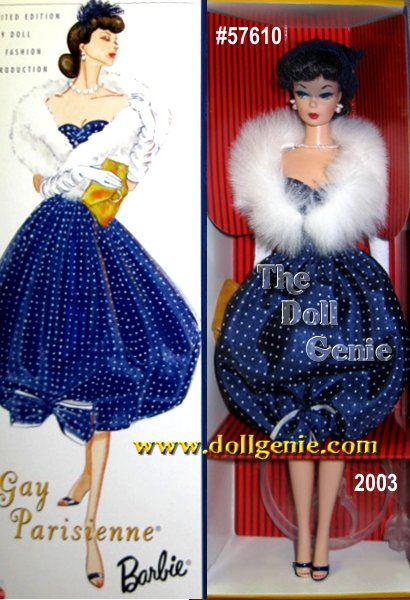 Sixth in the Collectors Request Collection, this Barbie doll is a vinyl reproduction wearing a re-creation of the original 1959 fashion Gay Parisienne. Barbie looks chic in her classic dark blue bubble dress with tiny white polka-dots. Around her shoulders is a fabulous faux fur stole, and sitting atop her head is a sophisticated veiled headband hat. Accessories include a faux pearl necklace, golden velvety clutch, and navy open-toe shoes. Barbie dolls demure vintage look is captured with lovely side-glancing eyes, red lipstick, painted finger and toenails, and a brunette ponytail with curled bangs.