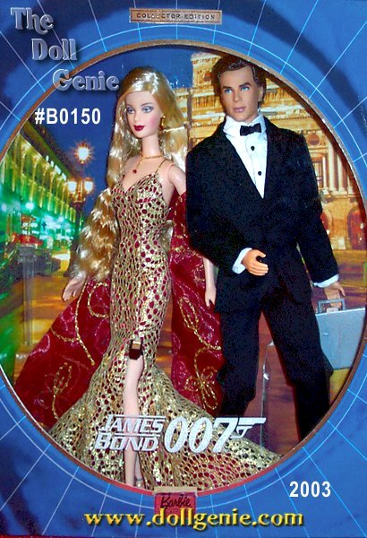 Off on another electrifying adventure, Ken doll steps into the role of James Bond, as debonair as any of the five actors who portrayed the master spy on     screen. His midnight blue suit is an authentic re-creation of the classic tuxedo worn by Bond and designed by the renowned clothier Brioni. He carries a sleek briefcase, packed with top secret papers for his latest MI6 assignment. Barbie doll is the perfect Bond girl in a fabulous ensemble created by Lindy Hemming, the Academy Award-winning designer enlisted for the 20th Bond film. A fabulous golden lace gown and striking red shawl lend cosmopolitan glamour, while her indispensable cell phone, strapped discreetly to her thigh, awaits the call to action.