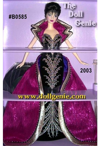 Brunette Brilliance Barbie is the second doll in The Red Carpet Collection from famous fashion designer Bob Mackie. This doll is wearing an extravagant black velvet gown embroidered in silver with pink, purple, and silver beading. A fuchsia overskirt and stand-up notched collar edged in silver beads and silver and black embroidery complete her magnificent ensemble. Rhinestones earrings dangle perfectly to accent her short black hair against her ultra pale skin tone color.