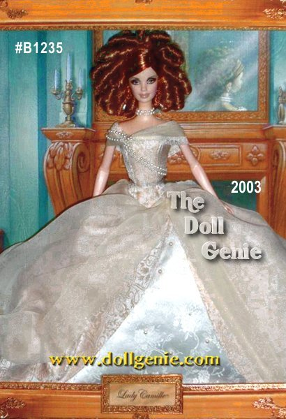 Lady Camille Barbie doll wears a captivating ensemble. Her extravagant gown of champagne-colored jacquard is accented with lace-trimmed chiffon and lavish strands of faux pearls. A sheer off-white drape adds an air of romance. Golden filigree drop earrings continue the faux pearl motif, which repeats in her double-strand faux pearl choker necklace. This extraordinary doll comes in a package reminiscent of the 19th century shadowbox. It resembles a framed, three-dimensional painting with a backdrop depicting a stately salon, rendered in a soft palette. Lady Camille Barbie stands before the mantelpiece, forever captured at her most elegant.