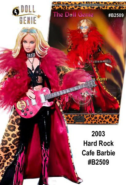 Hard Rock Cafe Barbie doll wears a lacy black cropped camisole, black vinyl flared pants with a red flame and guitar print on the bottom of the pants, a silvery studded and chain belt, and a faux leopard floor length jacket with red curly plush at neck and bottom of sleeves, lined in red. Accessories include a choker and a silver chain with a pendant, black boots, and a belly tattoo as well as a rhinestone in her belly button. Her earrings are large silver hoops and her sunglasses have blue tinted lenses and a golden frame. She also has a non-working electric guitar that has a red marbleized finish and a Hard Rock Cafe logo. Her blond hair features reddish brown highlights.