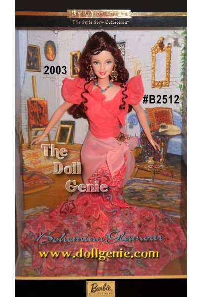 The Bohemian Glamour Barbie, the third doll in the Style Set Collection, wears a ruffled coral chiffon top and coordinating printed chiffon ruffled skirt with vibrant hues of coral, pink, and turquoise. Barbie doll has a pink chiffon-colored accents. She wears strappy coral sandals, and has long, curly red hair.