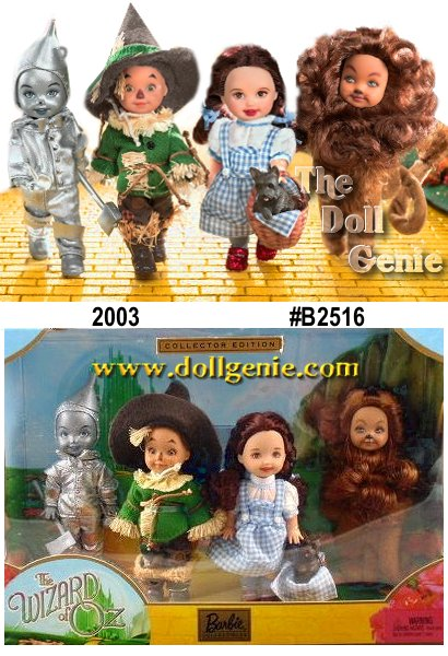 This darling giftset features all four of the classic Wizard of Oz characters. Dorothy wears her light blue gingham skirt over a white shirt with light blue trim. She come with her famous red slippers and carries Toto in a basket-colored face and a silvery outfit that includes shoes and a cap that is topped with a silvery oil funnel. Scarecrow wears a green jacket with a faux burlap collar, brown pants with patches, and a black scarecrow hat with green band. (very hard to find)
