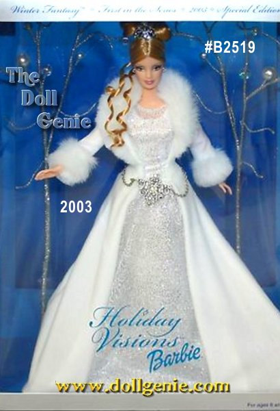Introducing Winter Fantasy Barbie, the first doll in the new Holiday Visions Series. She looks simply magical in a glistening white gown. The softest velvety skirt gracefully drapes over glittery white mesh. Luxurious faux fur wraps about her shoulders. The tiara atop her cascading curls sparkles as does the silvery belt. She is truly a vision of beauty for the season!