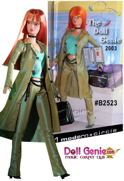 Modern Circle Barbie doll has a flair for fashion! She features a reproduction vintage face sculpt popular among collectors and is dressed in a sleek green pantsuit with an aqua camisole underneath. Her simple yet chic accessories include a black choker and coordinating black beaded belt. She carries with her a cell phone and laptop computer encased in a black faux leather bag, and she has long, vibrant orange hair that she wears straight with bangs.