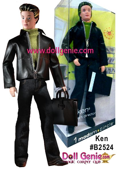 1 Modern Circle Ken doll is a passionate set designer whose style reflects his line of work. Featuring the vintage face sculpt, his hair has been updated to a more modern style with highlights framing his face. He wears dark denim jeans and a leather-like jacket over a green turtleneck. He carries with him a portfolio containing two drawings of his set designs.