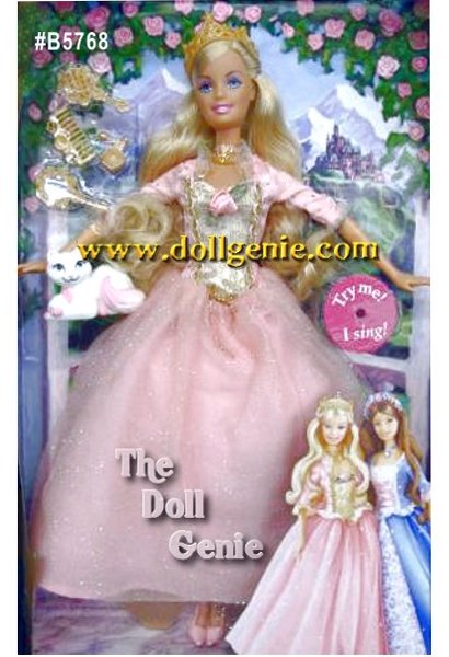 This special doll from the Princess and the Pauper Childrens Storybook, Princess Anneliese, has long cascading blonde hair and is wearing a beautiful period inspired gown with necklace, brush, comb, mirror, crown perfume bottle and her cat Serafina. Princess Anneliese will also sing for you!