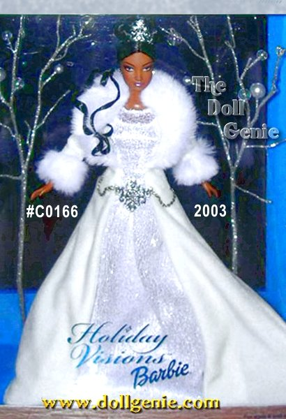 Introducing Winter Fantasy Barbie, the first doll in the new Holiday Visions Series. She looks simply magical in a glistening white gown. The softest velvety skirt gracefully drapes over glittery white mesh. Luxurious faux fur wraps about her shoulders. The tiara atop her cascading curls sparkles as does the silvery belt. She is truly a vision of beauty for the season! African American Version
