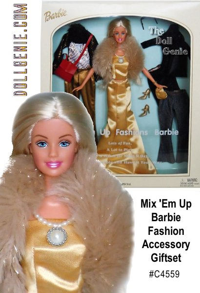 Wow, look at all the fabulous fashions you will get when you purchase Mix-em Up Fashions Barbie doll! This glamorous gal is dressed in a stunning golden two-piece outfit with matching faux fur stole and purse. Barbie comes with several mix and match fashions including two pairs of pants, a black skirt, two tops, two purses, two pairs of shoes, shades, and a jacket. This online exclusive doll was created as part of a contest between two Mattel manufacturing plants. She will make a fabulous addition to your collection.