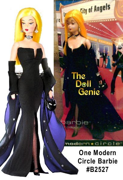Dressed for a star-studded movie premiere, Barbie doll is striking in black, accented with a silver foil printed black chiffon shawl. Always edgy and bold, 1 Modern Circle Barbie carries off this sophisticated ensemble with radical charm.