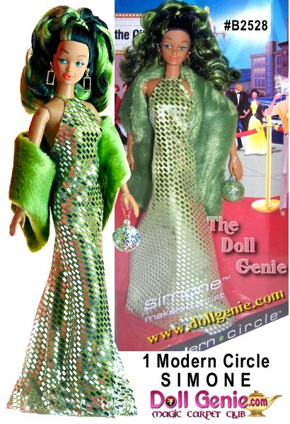 1 Modern Circle Simone doll is dazzling in a green silver foil printed dress with a plush stole shoulder wrap. Curly black hair with green highlights is pulled up in a sophisticated high ponytail.