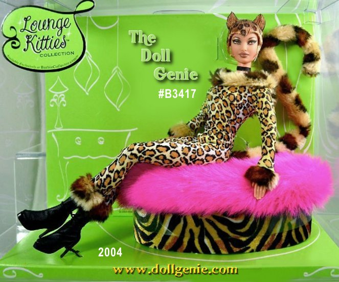 This Barbie Club Exclusive Lounge Kitties Collection doll slinks through the urban jungle in a sleek leopard-print catsuit with faux-fur accents and tail. A black choker necklace adds to her hypnotic allure while she is out on the prowl. And when shes ready for a cozy catnap, pose her on her animal-print ottoman, topped with a fuchsia faux-fur cover!