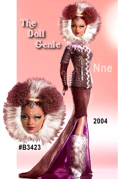 Collector Club Exclusive. Byron Lars returns to a favorite theme to continue his acclaimed Treasures of Africa Collection. Inspired by the range and diversity of todays Africa - from towering modern cities to snowy mountaintops - Mr. Lars creates Nne Barbie doll. Named for the Swahili word for four, this fantastic doll is richly drawn from African motifs, but completely defined by fine couture. Nne Barbie doll struts her stuff in a fitted brown jacket and skirt, faux fur hood and faux fur boots.