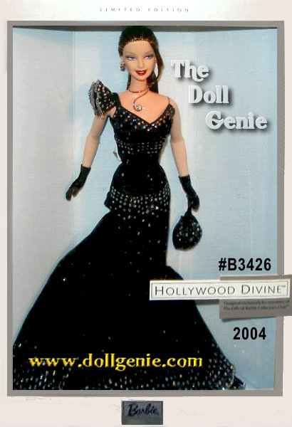 Members of the 2004 Barbie Fan Club received this doll as part of their membership. Designed by Katiana Jimenez, Hollywood Divine Barbie doll wears a black taffeta and pleated chiffon gown with silvery accents. Funky accessories include a black evening bag and heels, silvery wire-wrap necklace with rhinestone, and matching earrings. Due to planning and production issues, this dolls packaging includes The Official Barbie Collectors Club logo. This is the Brunette Version. Less than 4,000