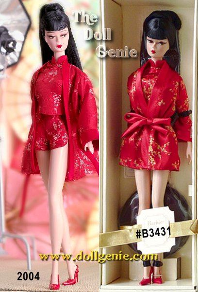 Barbie doll is exotic and effortlessly elegant in printed cherry red pajama shorts and high collar sleeveless top with oriental detailing and a matching short robe with red sling-back heels. Made of the innovative Silkstone material with long black hair and straight bangs, this sophisticated and modern doll is decidedly alluring and evocative.