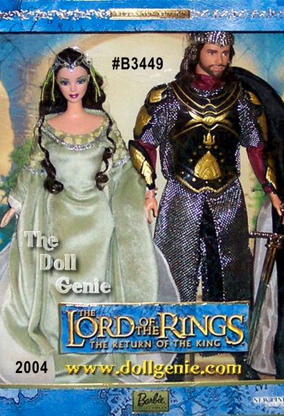 Barbie Doll and Ken doll portray Arwen and Aragorn in the 3rd movie of this epic trilogy, Lord of the Rings: The Return of the King. Ken as Aragorn wears an elaborate costume featuring a cloak and body armor, crown and sword. Barbie as Arwen looks serenely beautiful in a light green gown with long sleeves lined in white chiffon and silver loop trim on the bodice and sleeves. Her long flowing hair is adorned with a beaded butterfly patterned hair ornament.