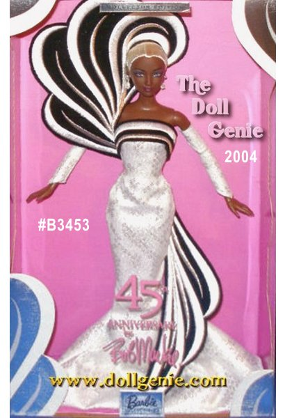 Barbie Doll celebrates her 45th anniversary in style, wearing a Bob Mackie-designed silver white brocade gown. An elaborate black and white embroidered swirl accents her ensemble, encircling her beautiful shimmery platinum blond braid. She comes with matching silver white brocade gloves and dangling rhinestone earrings. African American Version