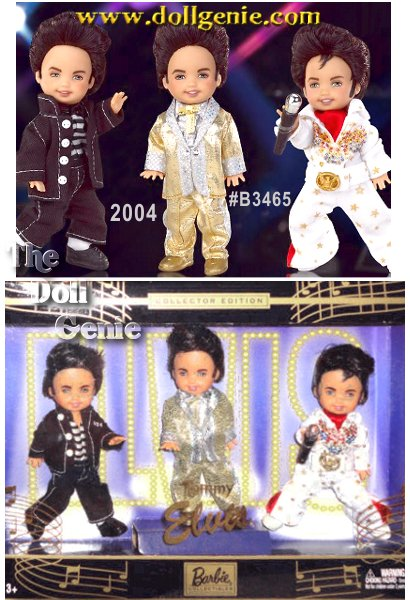 Tommy doll looks adorable, playing dress up in classic outfits made famous by Elvis Presley. The first Tommy doll wears a golden suit with a holographic foil dot  pants. The doll also wears a silvery shirt with silvery ruffles and collar and a golden ribbon bowtie. His shoes are golden, too! Elvis Presley wore this outfit at the 1957 concert in Toronto. The second outfit is the Elvis Eagle jumpsuit. Tommy doll wears a white jumpsuit with golden detailing and red scarf along with a white belt with a golden eagle on the buckle. His hair is styled in the famous Elvis pompadour. The third outfit is based on Jailhouse Rock, the movie from 1957. Tommy doll wears a black jacket & pants with top stitch and matching buttons. The striped shirt matches the suit. So cute!