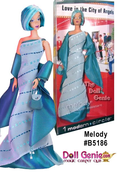 1 Modern Circle Melody is sassy and stylish in an iridescent teal taffeta gown, short dark teal hair with an aqua streak and is ready to rock.