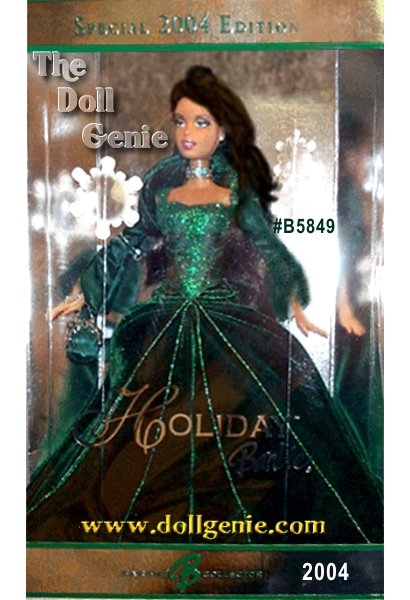 For over a decade, Barbie doll has celebrated each holiday season with a beautiful doll commemorating the year. In 2004, Holiday Barbie doll joins this proud tradition dressed in rich, green velvet embellished with glittering sparkles. Come join the holiday Barbie Doll collecting tradition with this splendid keepsake doll. African American Version