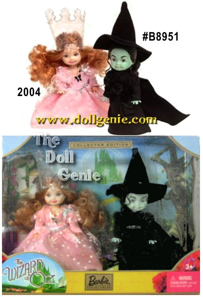 Based on the classic movie, Wizard of Oz, this giftset features Kelly dressing up as the colorful and memorable witches, Glinda the Good Witch and The Wicked Witch of the West. As Glinda, Kelly wears her pretty blush pink floor length-neck collar of the Wicked Witchs dress. Her costume is accented with black plastic molded ballet slippers. The Wicked Witch of the West features short black curly hair under a floppy black witchs pointy hat in flock fabric, which certainly adds a dramatic and wicked look to her outfit. The closed-mouthed Kelly as the Wicked Witch is molded in a putty green color.