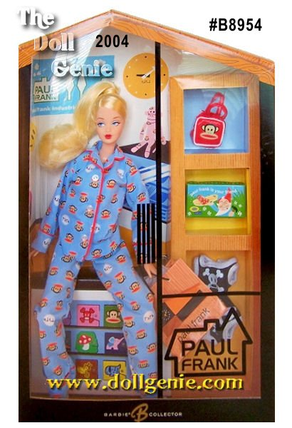 This Limited Edition Paul Frank barbie doll has long been a favorite around the world - smart, beautiful, and always trendy! Paul Frank has created this very special collector Barbie doll dressed in signature blue Paul Frank style featuring Julius the cheeky monkey. Ready to relax after a long day of shopping, Barbie comes with a Paul Frank Store shopping bag plus all the dolls miniature Paul Frank shopping goodies! This little sweetie as a jointed body suitable for lounging and feet that are molded to fit comfortably in Paul Frank slippers. A cute ponytail tops off the outfits sweet style.