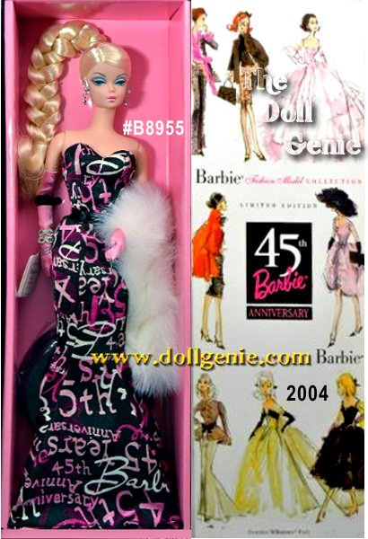 Limited Edition - Barbie wears a stunning graffiti print form-fitting dress that celebrates her 45th anniversary. A snow white faux fur stole accents her ensemble. Her long platinum blond hair is styled in a braid. She wears rhinestone stud earrings with elegant pearl drop dangles.