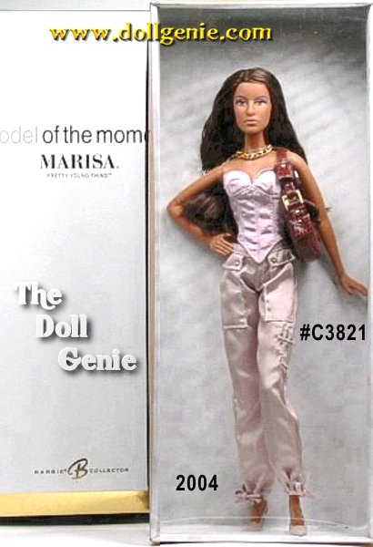 Marisa Pretty Young Thing doll wears a trendy outfit that goes effortlessly from day to night. Pale pink taffeta bustier matches khaki taffeta cargo pants decorated with golden inset studs. Her brown faux snakeskin leatherette purse features golden buckle and studs. Large link chain necklace and sling back pumps are the final, bold accessories.