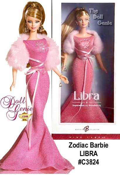 Inspired by the twelve astrological signs, Barbie doll, represents the mystique and on-going appeal of the zodiac. Each of the twelve glamorous Barbie dolls in the collection wears a classic gown and faux fur stole. Each gown is decorated with the symbol for its sign with faux rhinestones. Bracelet with zodiac charm and earrings complete the ensemble.
