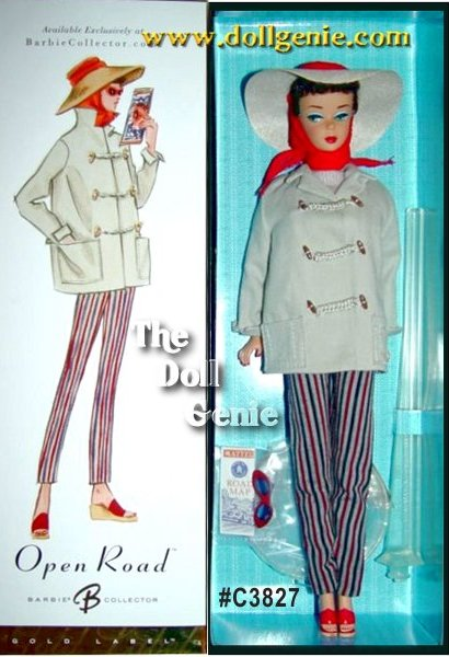Club Exclusive - This darling vintage reproduction features a lovely brunette Ponytail doll wearing #985 Open Road fashion. Adorable fashion separates include slim slacks in a red-black-gray stripe with back zipper, a beige short-sleeved shell sweater with back closure, and a matching khaki car coat with toggle fasteners lined in a striped fabric. A straw cloth hat attached to a red chiffon scarf, a pair of red rimmed blue lens sunglasses, and wedge sandals with red uppers complete Barbie dolls ensemble. This is the first doll available online in the new Barbie Collector packaging featuring an updated closed cake box with a layer of acetate underneath to protect the doll - perfect for displaying NRFB or de-boxing for dress and play fun!