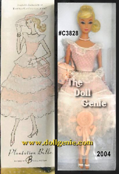 Club Exclusive - Between 1959 and 1961, a favorite Barbie fashion was #966, Plantation Belle. This reproduction of the classic design returns in 2004, defined by sheer feminine allure. The waltz-length garden party dress features a fitted scoop neck bodice and round, full, flouncy skirt. The Southern-influenced accessories include a lacy, faux straw hat, matching sequined, faux straw purse, proper white gloves, and summery sandals. A suite of faux pearl jewelry completes the wonderful look.