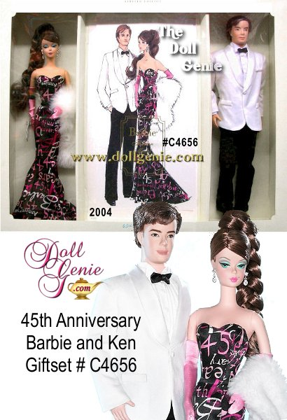 Limited Edition - Barbie Fashion Model Collection celebrates Barbie dolls 45th anniversary. Barbie doll wears a dramatic black gown, joyously graffiti printed in pink and white. Ken doll joins the fun in a white dinner jacket with classic black tuxedo pants. Included in this Limited Edition giftset is a signed sketch of this BFMC 45th Anniversary Barbie. Barbie designed by Robert Best