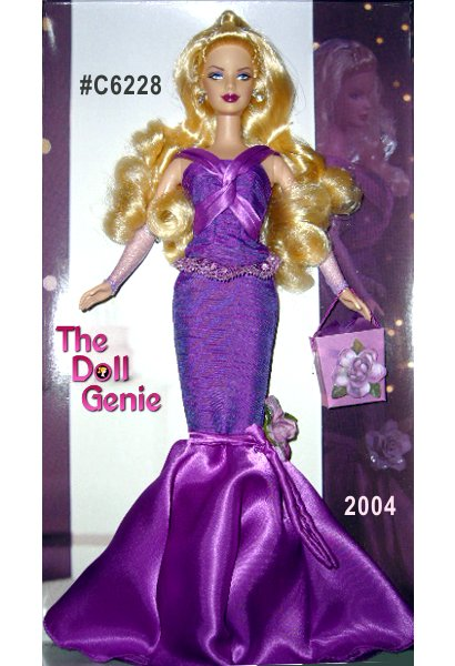 Birthday Wishes Barbie doll celebrates a very special event! Barbie doll wears a vivid violet gown featuring a fitted skirt that flairs at the bottom and a matching top, edged with glittered lace at the waist. A beautiful matching ornamental faux flower and full-length open gloves are lovely accents. The final accessories are shoes and sparkling dangling earrings. This stunning Birthday Wishes Barbie doll also carries a gift bag. Each sold separately, perfect for special gift giving. Limited Silver Edition
