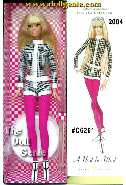 A Nod for Mod Barbie doll looks totally groovy in a fabulous black and white one-piece mini jumpsuit. Eye-popping fuchsia tights play against op art, black-on-white boots. Her long blond hair is super straight with long bangs that frame her face. Rooted eyelashes accentuate her hypnotic blue eyes and pretty pastel pink lips. White-framed sunglasses with pink tinted lenses add a fun finishing touch.