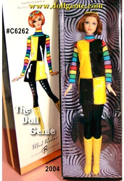 Mod Redux Barbie doll sports a sassy geometric yellow-and-black mini-jumper over her colorfully striped knit turtleneck. With the chic black-on-black foil printed tights, high yellow boots, and auburn do, Mod Redux Barbie doll is totally groovy, baby!