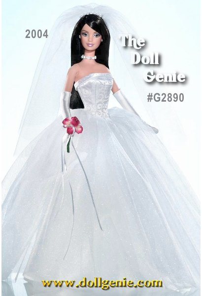 Davids Bridal Unforgettable Brunette Barbie doll wears a beautiful bridal gown with a white glitter-print satiny bodice and a full, glittery tulle skirt. Exceptional accessories include a tulle veil with faux rhinestone tiara attached, faux rhinestone necklace, silvery earrings, red bouquet, white charmeuse gloves, and white high-heel sandals. Say I do! to this exquisite doll! This doll is the Brunette Version.
