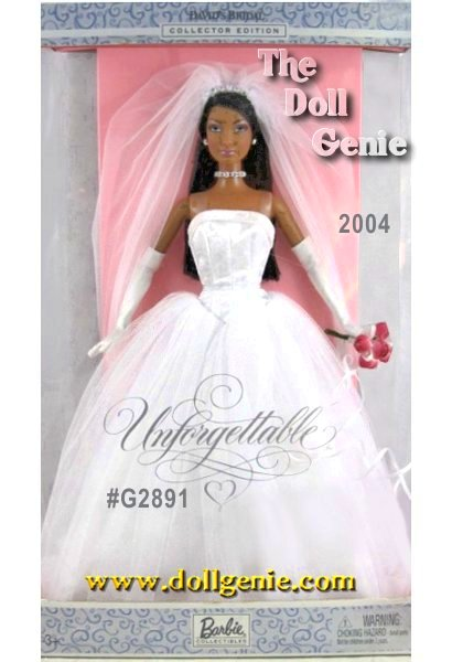 Davids Bridal Unforgettable African American Barbie doll wears a beautiful bridal gown with a white glitter-print satiny bodice and a full, glittery tulle skirt. Exceptional accessories include a tulle veil with faux rhinestone tiara attached, faux rhinestone necklace, silvery earrings, red bouquet, white charmeuse gloves, and white high-heel sandals. Say I do! to this exquisite doll! This doll is the African American Version.