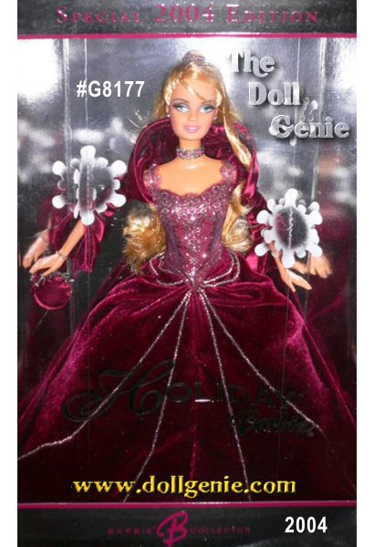 For over a decade, Barbie doll has celebrated each holiday season with a beautiful doll commemorating the year. In 2004, Holiday Barbie doll, joins this proud tradition dressed in a rich, rose velvet gown embellished with glittering sparkles. And, for the first time, this special rose-velvet 2004 Holiday Barbie doll is available exclusively from Sears. Come join the holiday Barbie Doll collecting tradition with this splendid keepsake Sears Exclusive Holiday Barbie doll.