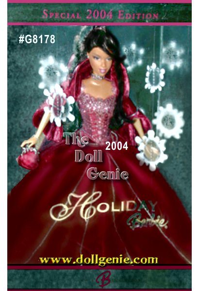 For over a decade, Barbie doll has celebrated each holiday season with a beautiful doll commemorating the year. In 2004, Holiday Barbie doll, joins this proud tradition dressed in a rich, rose velvet gown embellished with glittering sparkles. And, for the first time, this special rose-velvet 2004 Holiday Barbie doll is available exclusively from Sears. Come join the holiday Barbie Doll collecting tradition with this splendid keepsake Sears Exclusive Holiday Barbie doll. African American Version