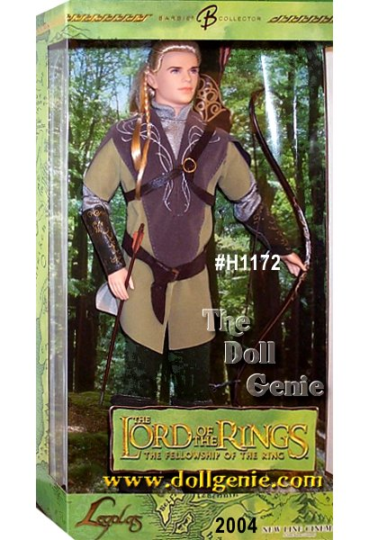 Inspired by the first film in the mythic trilogy, Ken doll as Legolas in The Lord of the Rings: The Fellowship of the Ring wears a striking costume complete with earth-toned tunic and pants. His long flowing blond hair features two braids in front, much like the hairstyle worn by Orlando Bloom in the film. Pointed ears, boots and gauntlets complete his elven ensemble. Tall and fair, bright-eyed and noble, this doll is sure to win your heart!