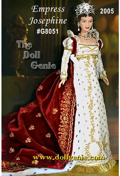 Empress Josephine Barbie doll wears a regal outfit inspired by historical records. The empire-style gown (not removable from doll) is made of satin, embellished with golden braid and hemmed with golden fringe. A rich red, velvet robe is beautifully embroidered and is lined with printed, faux ermine. The jewelry suite includes faux pearl earrings, two double strand bracelets, and faux pearl necklace further accented with crystals. The silvery crown and tiara also feature crystal embellishments. Golden shoes with painted print complete this imperial beauty. Less than 4,500 units worldwide.