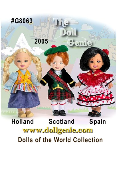 Spain - Holland - Scotland Kelly doll and friends are wearing traditional dress from three wonderful countries in Europe. Each adorable small doll represents one of three countries with their own unique flavor. There is a doll from Holland, famous for its windmills and tulips, a doll from Spain known for the fiery flamenco and one from Scotland known for tartan plaid and bagpipes.
