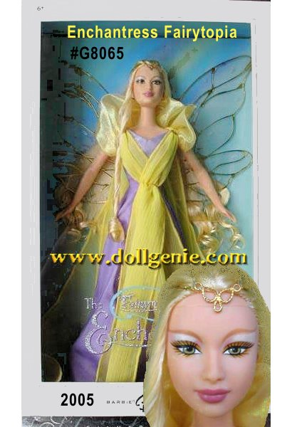 The Enchantress Fairytopia Barbie doll is inspired by the Fairytopia movie (coming in 2005), in which a fairy named Elina takes a journey to help her friends and save Fairytopia. As a reward for her courage the ethereal Enchantress gives Elina beautiful wings. The Enchantress is the most magical of all the fairies with her own shimmering fairy wings with delicate golden veins.