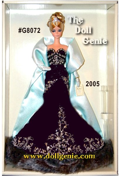 The most glorious respite in the hectic life of a model: a fabulous city vacation. Fashion, however, takes no holidays. Stolen Magic Barbie doll wears a dramatic gown of charcoal gray satin, embellished with silvery embroidery and sequins. Faux chinchilla fur trims the hem. A pale blue satin stole warms the shoulders while rhinestone earrings, a rhinestone tiara, and pale blue gloves make a dramatic style statement.