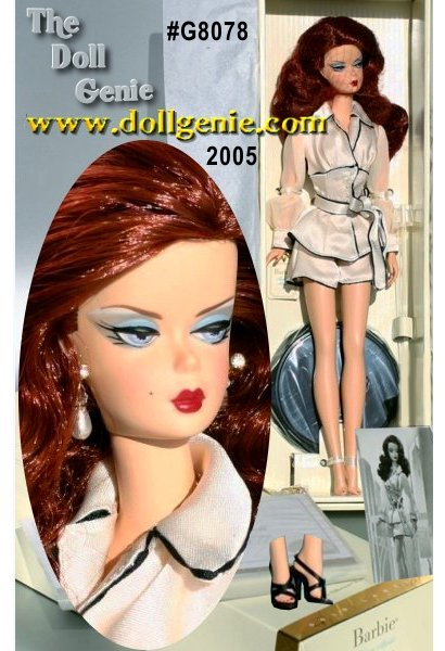 Suite Retreat Barbie doll is a sophisticated siren who oozes glamour and luxury. This sultry redhead wears a charmeuse pajama jacket with faux pearl buttons and blousy, chiffon sleeves. Her matching tap pants are trimmed in black-heeled black sandals and faux pearl-drop earrings.