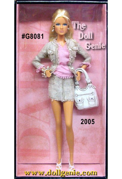 The Model of the Moment Collection continues with Daria Shopping Queen doll featuring the beautiful ModelMuse body sculpt. Daria wears a chic, coordinated ensemble, consisting of matching tan woven skirt and jacket. The pink chiffon blouse is a bright contrast. Strappy sandals, white leatherette purse, earrings, and bracelet lend sophisticated charm