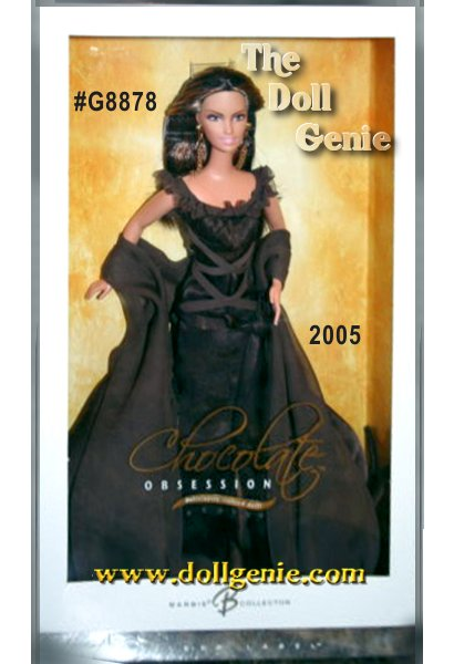 Rich. Delectable. Intoxicating. The complex flavor of chocolate evokes passion and inspires complete devotion. Chocolate Obsession Barbie doll celebrates the tradition of chocolate as the perfect gift. Scented with the sweet sumptuous-length shawl and impressive golden earrings. A beautiful tribute to a favorite fixation!